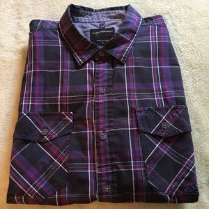 Calvin Klein Jeans collared plaid casual shirt